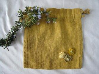 草木染め お花付き巾着(山吹)の画像