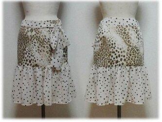 ドットとヒョウ柄のティアードスカートの画像