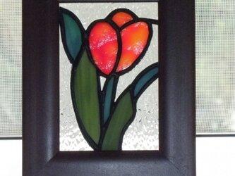ミニ額(赤いチューリップ)の画像