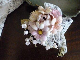 ミニ薔薇と小花の花束コサージュ*ピンクの画像
