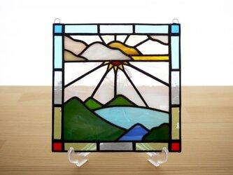 ステンドグラス ミニパネル レイク 15cmの画像