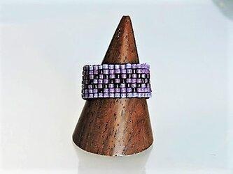 ビーズ織りリング 紫×黒16の画像