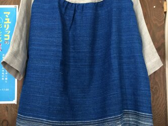 ラオス手紡ぎ藍染とリネンガーゼのプルオーバーの画像