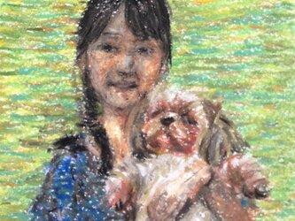 少女と犬の画像