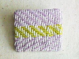 「よこよこ3」手織り布 ブローチの画像