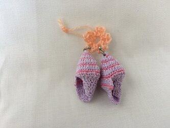 貝殻レースのピアス(藤色・ピンク)の画像