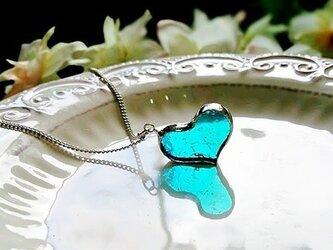 ステンドグラス ガラスのハートネックレス~マリンブルー~の画像
