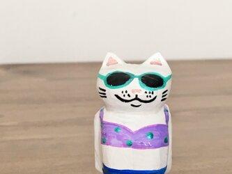 ぽっこりおなかの猫マグネット 水着猫の画像
