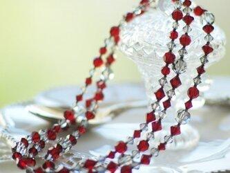 Swarovski * ラズベリー色のネックレス Red,3の画像