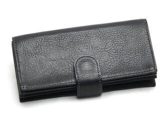 ボタンポケットのゆったり長財布(カラー:Black)の画像