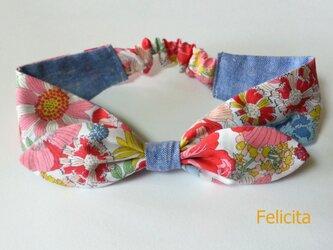 春夏リボンヘアバンド 花柄 redの画像