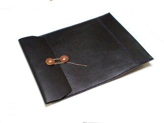 トスカーナ床革のマニラ封筒 A4ファイル対応 黒革紫糸の画像