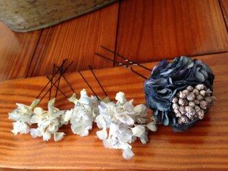 アンティークブルーのお花髪飾りセットの画像