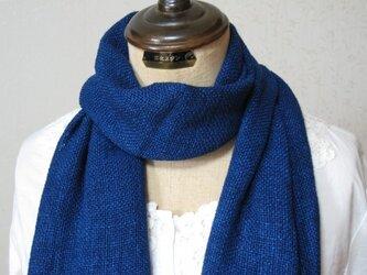草木染め 手織りシルクストール(藍染め)の画像