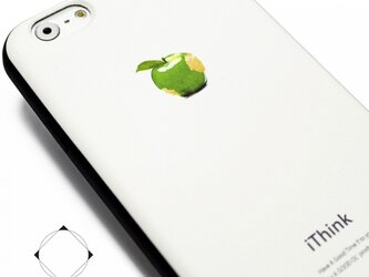 iphone6/iphone6sケース(4.7インチ用)軽量レザーケース(ホワイト×ブラック)グリーンアップルの画像