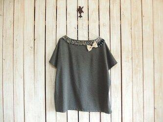 コラージュTシャツ/チャコール Aの画像
