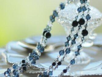 Swarovski * 黒蝶真珠色のネックレス * ネイビーの画像