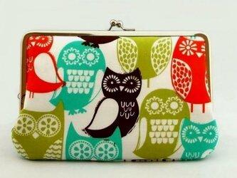 【受注制作】colorful owls - 通帳ケースの画像