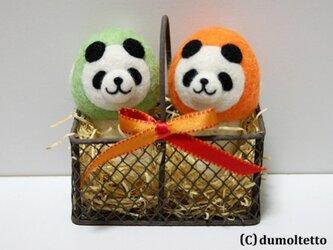 羊毛フェルトキノコパンダのマスコットセット(黄緑&オレンジ)の画像