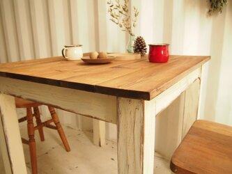 カフェテーブル【800×800】(ダーク×ホワイト シャビー)の画像
