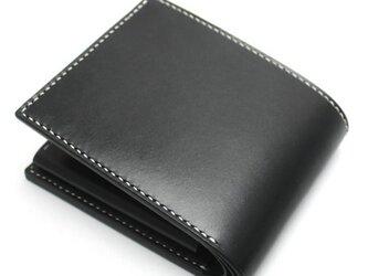 ボタンポケットの2つ折り財布(カラー:Black)の画像