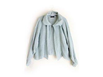 えり付きのかるーいハーフコート・インナーコート/べんがら染め古色+藍錠染め/医療用ガーゼ服の画像