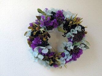 百日草の紫×アジサイの水色リースの画像