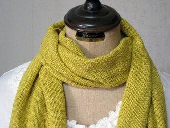 草木染め 手織りシルクストール(山吹)の画像