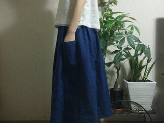 リネン100%ギャザースカートの画像