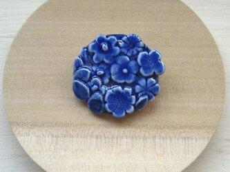 Flowers pattern Brooch (コバルト・丸)の画像