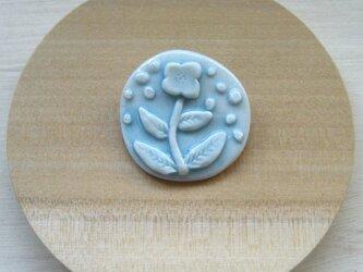 Flower pattern Brooch (磁器・水色・丸)の画像