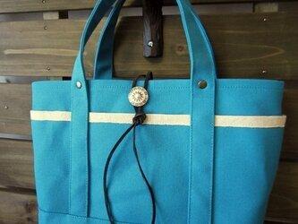 SALE 「ポケットtote」Sサイズ ブルーグリーンの画像