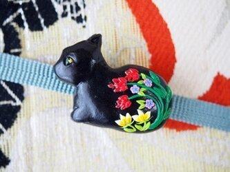 黒猫の帯留め(sold)の画像
