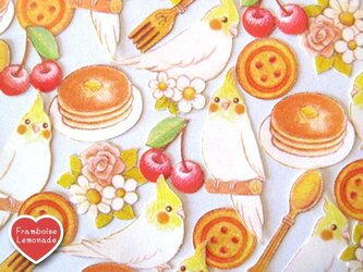 107オカメインコとパンケーキ★フレークシールの画像