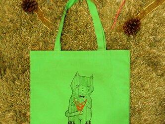 【訳あり】トートバッグ_ライム_あやとりネコの画像