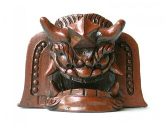 赤土木彫風「阿形」山伏鬼瓦の画像