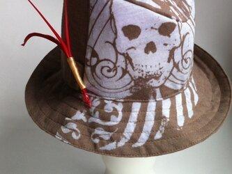 赤いフェザーとスカルの中折れ帽の画像
