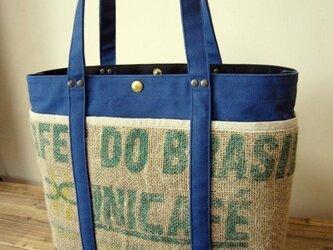 「コーヒーtote」 Lサイズ ブルーの画像