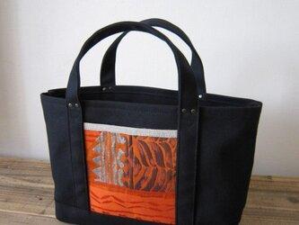 SALE 「obi-tote」 Sサイズ ブラック×オレンジの画像