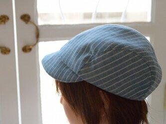 麻布のキャスケット(ブルー)の画像