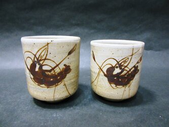 絵唐津夫婦湯呑(海老・寿)の画像
