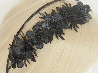 Nonslip Ribbon グログラン&フラワー ブラックの画像