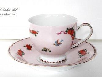 鳥とバラクラシックカップ&ソーサーの画像