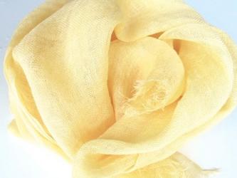 草木染ふんわりリネンガーゼストール(菜の花色)の画像