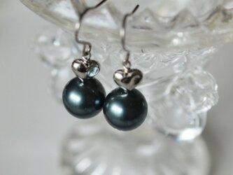 大粒パールのハートピアス & イヤリング  *南洋黒真珠フィーリング*の画像