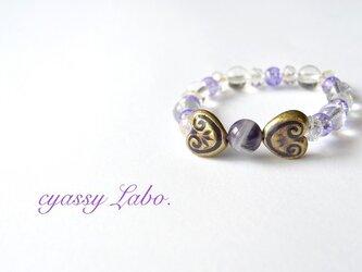 Ribbon purple~ケープアメジストと庭水晶のブレスの画像