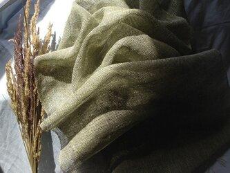 手織り リトアニアリネンとラミー グリーンの画像