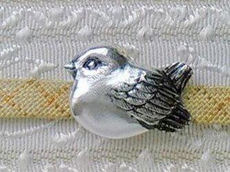 小雀の帯留 925銀 三分四分紐用の画像