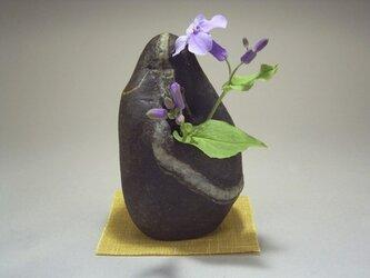石輪挿し 石の一輪挿し 山野草の生け花 K-158の画像
