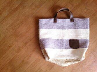 革ポケット付き しましま裂き織りバッグ (オプション有)の画像